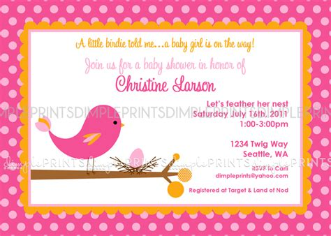 Bird Baby Shower Invitations by Tweet Baby Bird Printable Baby Shower Invitation Dimple