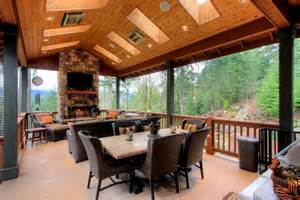 two level covered deck rustic deck seattle by mastercraft nw