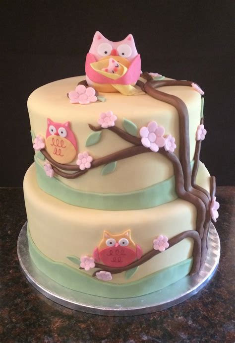 Baby Shower Owl Cake by Baby Shower Cakes By Caralin