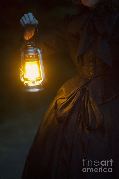 Dark Brown Duvet Cover Victorian Woman Holding A Hurricane Lamp Photograph By Lee