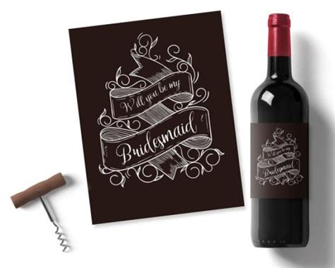printable wine stickers will you be my bridesmaid printable wine label chalk