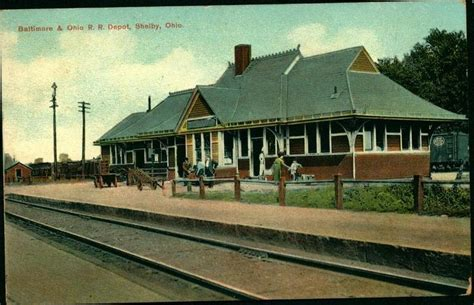 1909 shelby ohio postcard baltimore ohio railroad depot