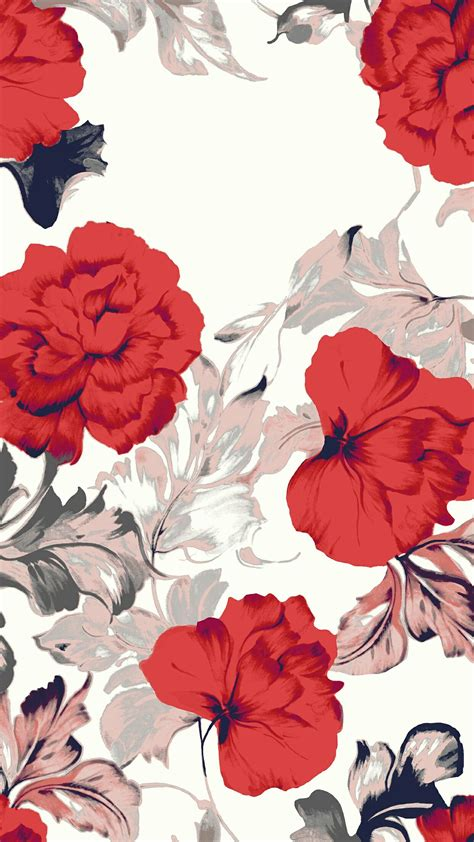 red flower illustrationinspiration  surface pattern