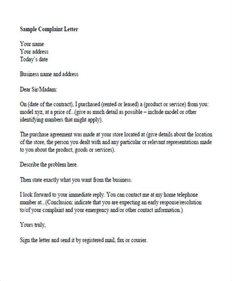 Complaint Letter Template For Food complaint letters in pdf free premium templates