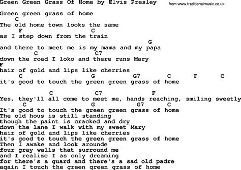 green green grass of home by elvis lyrics and
