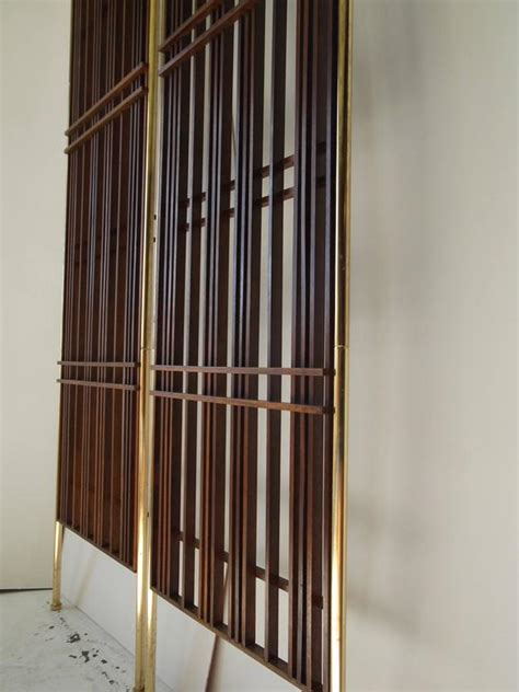 Fantastic Furniture Room Divider Pair Of Fantastic Modernist Mahogany Slat Tension Mount Room Dividers At 1stdibs