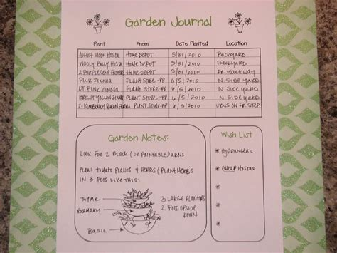 printable garden journal gardeninig journals garden journal printable idea page