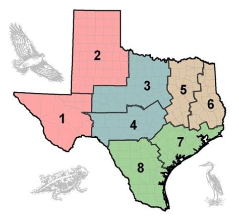 texas land map tpwd tpwd wildlife districts