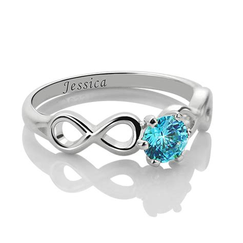 infinity promise ring with birthstone sterling silver