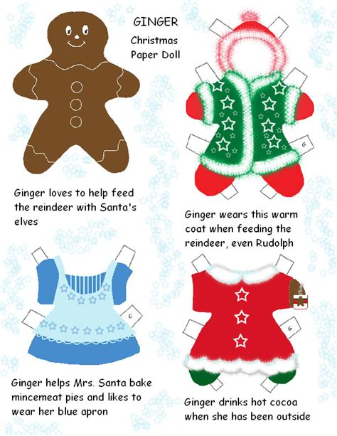 printable christmas paper dolls christmas gingerbread paper dolls plushie patterns