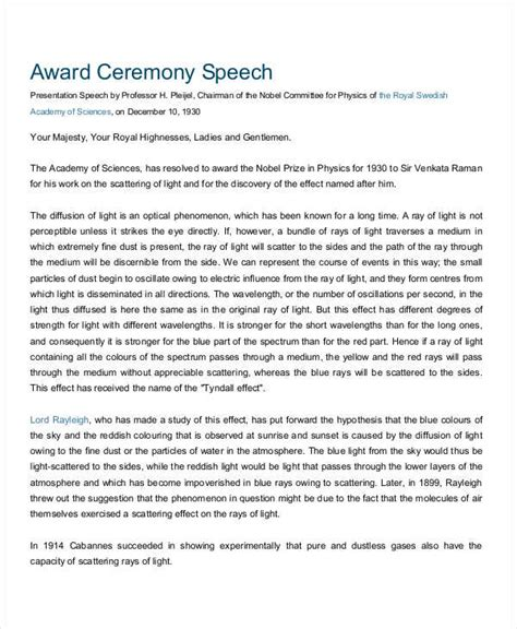 award speech template 4 presentation speech exles sles
