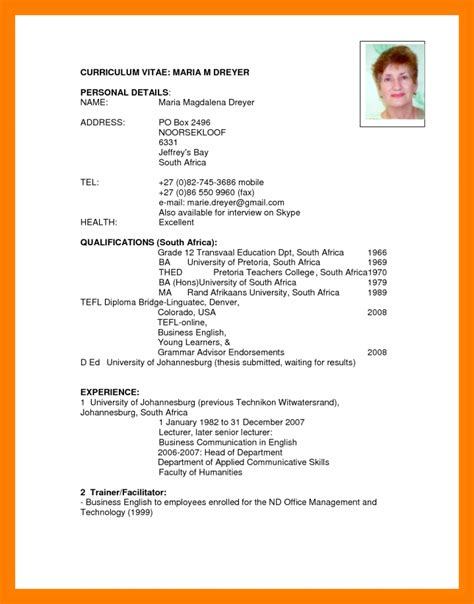 cv template south africa resumes 12 types of curriculum vitae format xavierax
