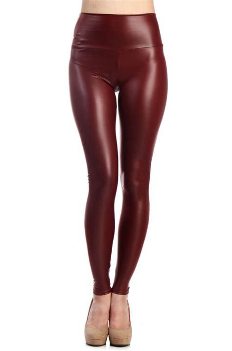 High Waist Faux Leather high waist faux leather burgundy
