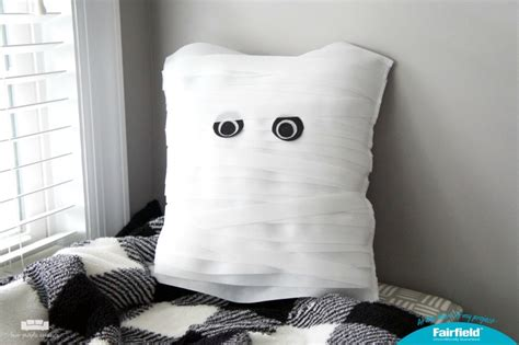 The Mummy Pillow easy diy mummy pillow two purple couches