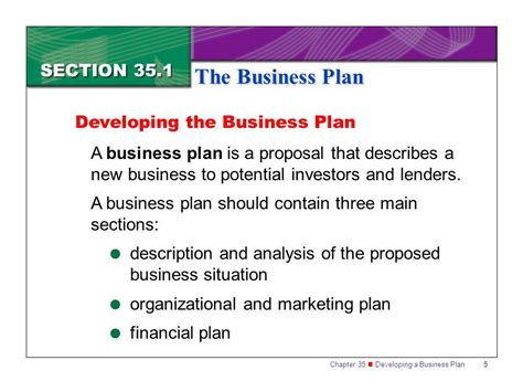 sections of marketing plan section 35 1 the business plan ppt video online download