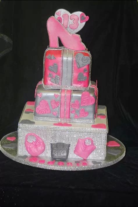 pink  silver bling square cake cake designs  cakes desserts cafe pinterest pink