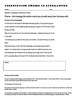 identifying themes in literature worksheets identifying theme in literature by dana hoover s creative