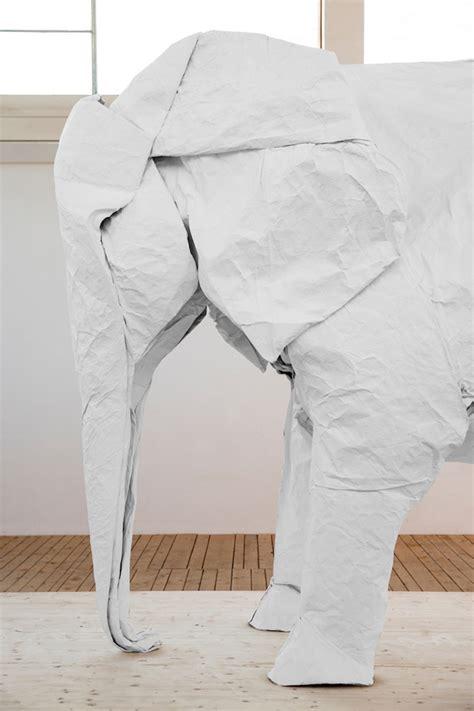 White Elephant Origami - white elephant a size origami elephant folded from a