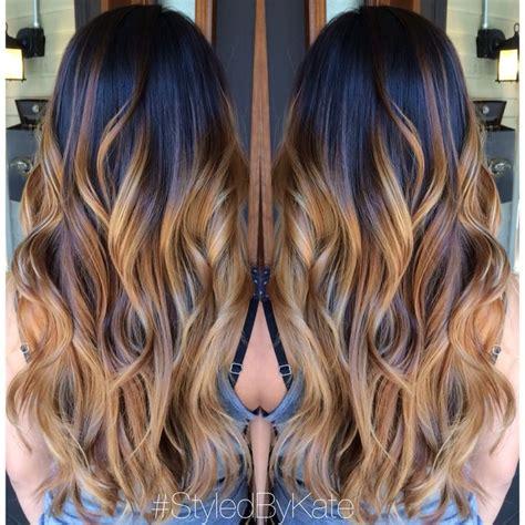 bayalage light blonde to carmel blonde blonde and caramel balayage ombre over natural brunette