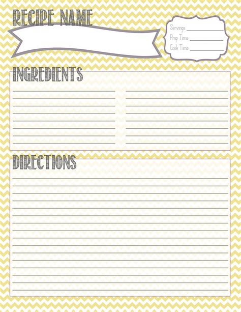 recipes template printable recipe card personal agenda ideas
