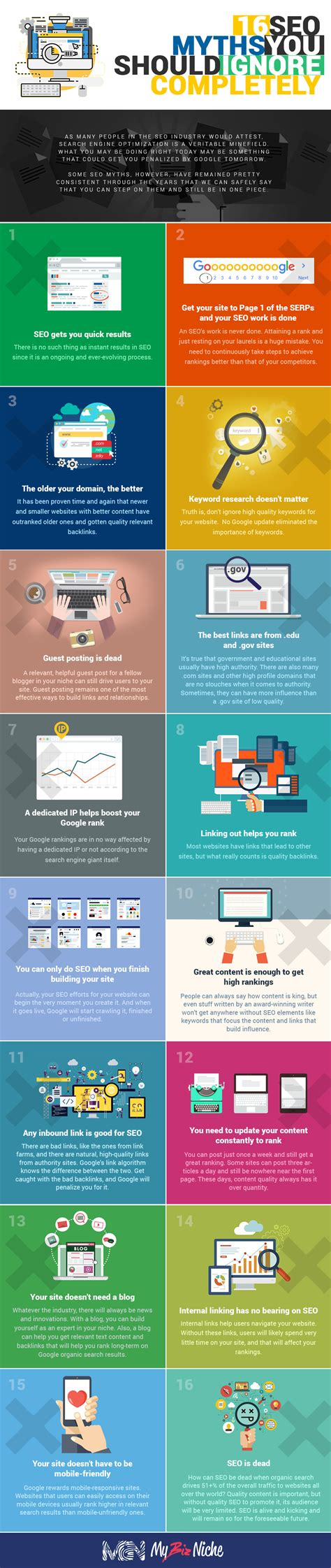 best seo 16 best seo truths put the myths to rest infographic