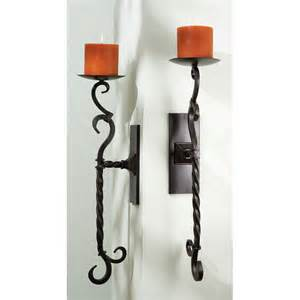 Wrought Iron Candle Wall Sconces Wrought Iron Wall Sconce Candelabra Set Of 2 At Hayneedle