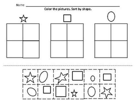 Sorting Shapes Worksheets For Kindergarten by Kindergarten Math Sorting And Kindergarten On