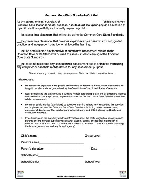 opt in form templates ccss opt out form stop common core