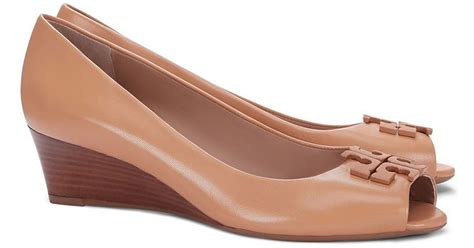 Burch Shoes Lowell Wedge burch lowell peep toe wedge in brown lyst