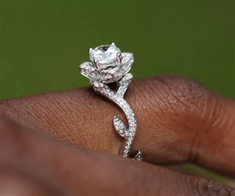 flower lotus engagement or right ring