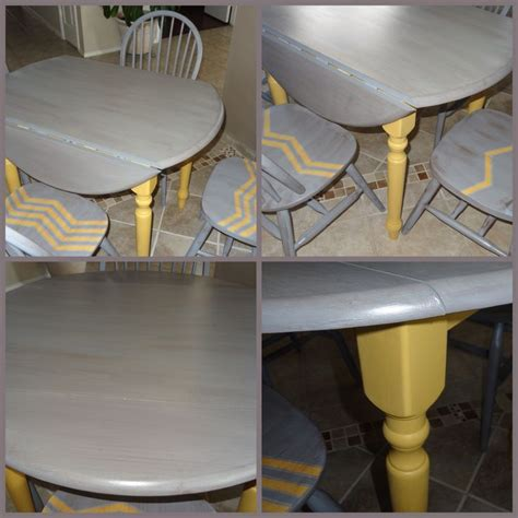 chalk paint kitchen table and chairs beautiful kitchen table drop leaf yellow and gray chalk paint chevron 1 4 pattern on chairs