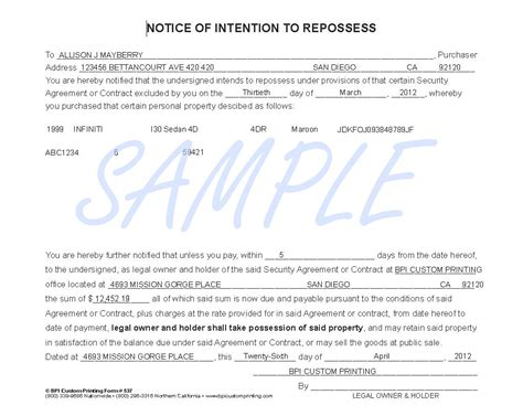 vehicle repossession letter template gallery templates
