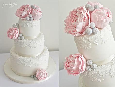 Hochzeitstorte Grau Rosa by Hochzeitstorten Rosa Pfingstrosen Hochzeitstorte
