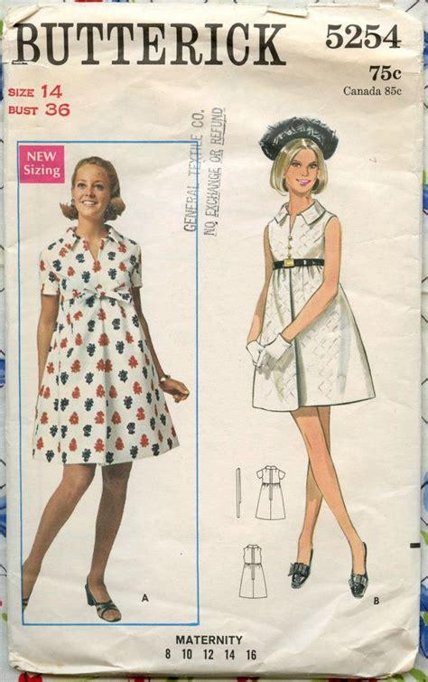 vintage maternity pattern 1960s butterick 5254 mod maternity one piece dress