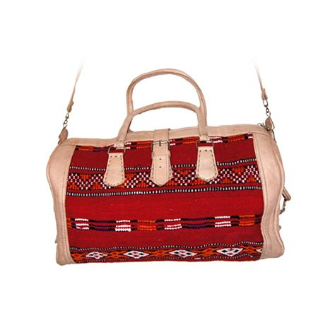 Rug Bags by Moroccan Leather Recycled Kilim Rug Bag The Edit