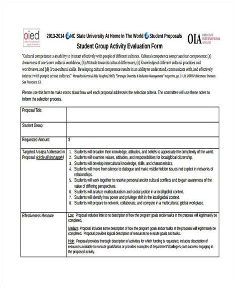 activity evaluation form template activity evaluation template peer evaluation of