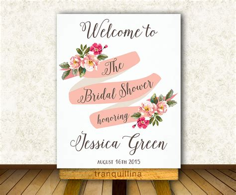 printable bridal shower signs bridal shower welcome sign printable floral welcome sign