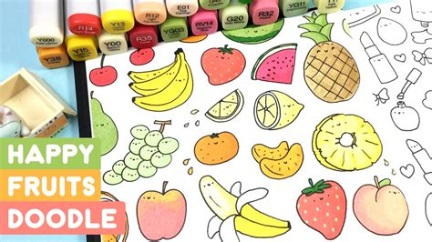 doodle fruit happy fruits doodle kawaii coloring kirakiradoodles