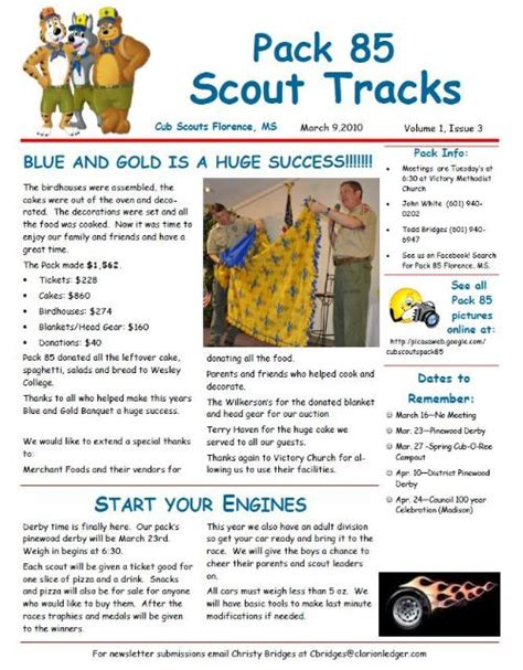 Boy Scout Troop Newsletter Template Public Newsletter Cub Scout Pack 85 Florence Mississippi