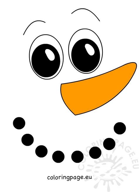 large snowman face  carrot nose coloring page