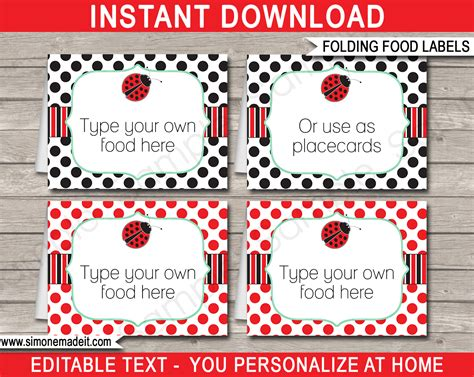 buffet cards template printable ladybug food labels place cards