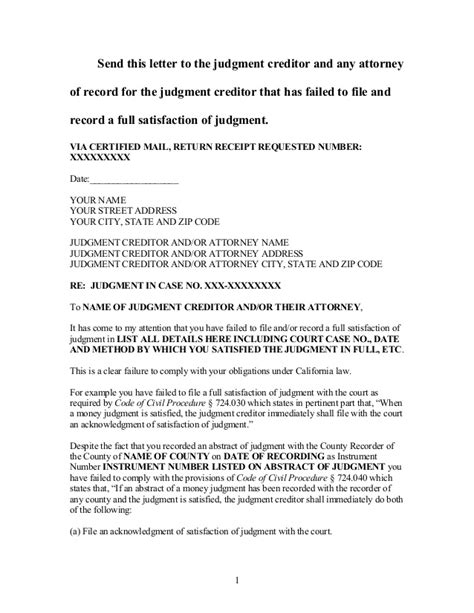 Demand Letter In California Sle Demand For Satisfaction Of Judgment In California