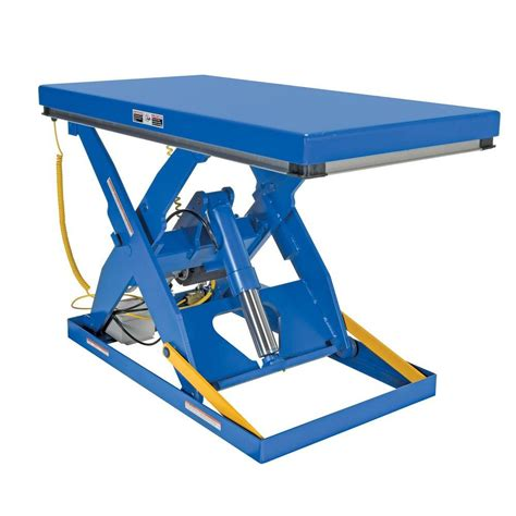 hydraulic scissor lift table vestil 3 000 lb 30 in x 60 in electric hydraulic