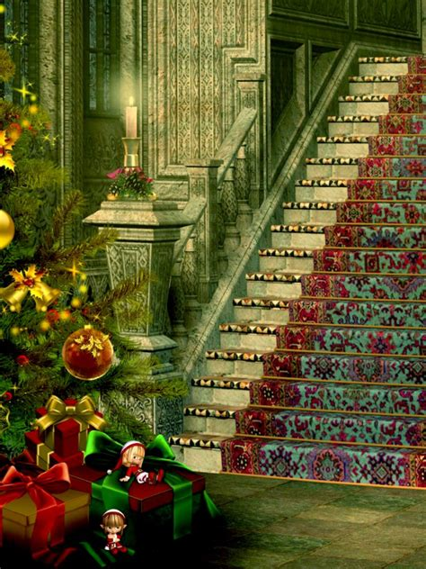 christmas stairs decoration wallpaper