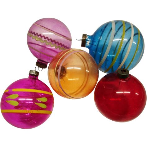 five large unsilvered usa glass wwii christmas ornaments