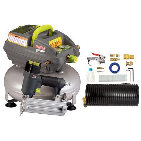 evolv   gallon pancake air compressor    brad nailer  accessory kit sears