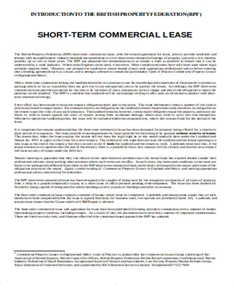 commercial lease agreement in word sle commercial lease agreement in word 8 exles in