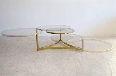 milo baughman tri level brass and glass swivel coffee