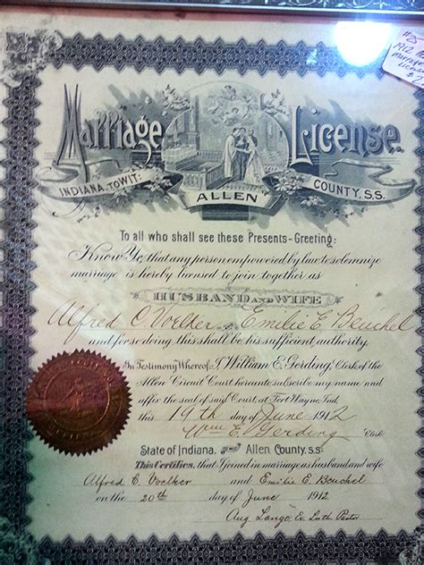 Wayne County Indiana Records Marriage Records In Allen County Indiana On Allen Ingenweb Project