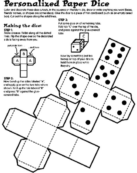 How To Make A Dice Out Of Paper - personalized paper dice coloring page crayola